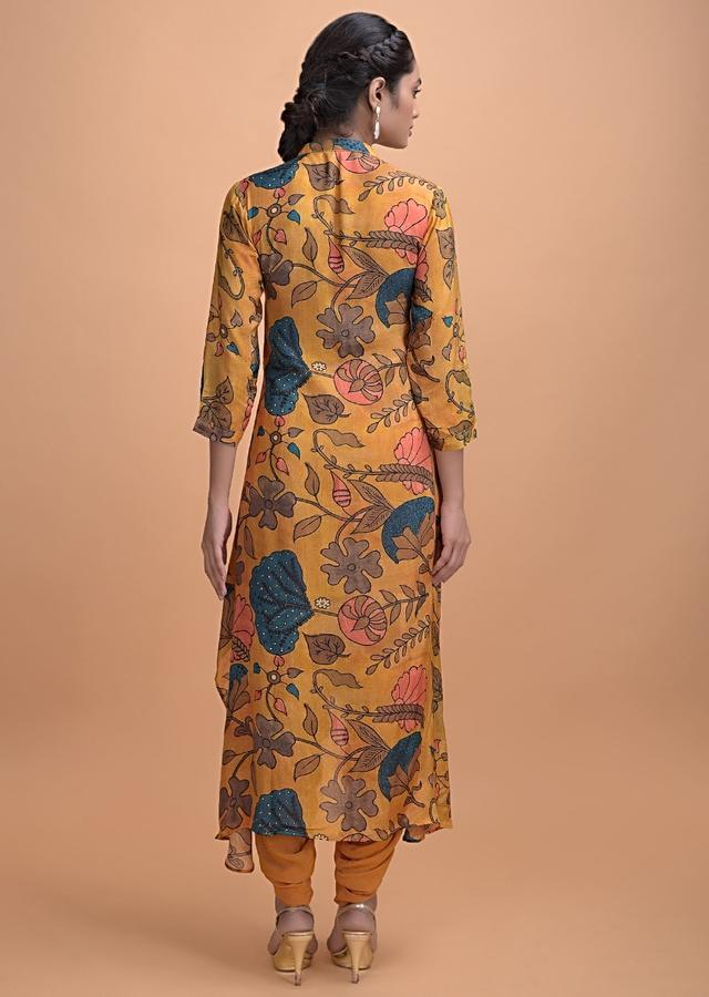 Mustard Yellow Dhoti Suit In Cotton Blend With Nature Inspired Print Online - Kalki Fashion