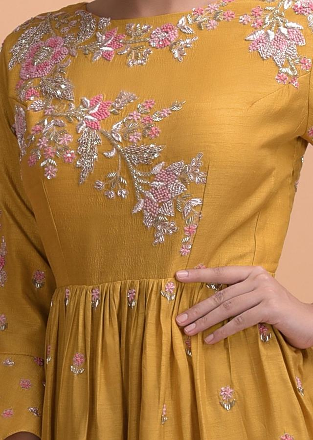 Mustard Yellow Gown With Peplum Waist And Hand Embroidery Work Online - Kalki Fashion