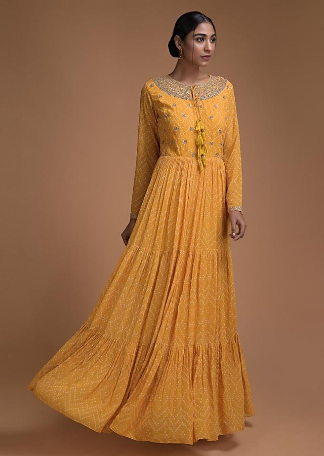 Mustard Yellow Indowestern Gown In Georgette With Bandhani Print Online - Kalki Fashion