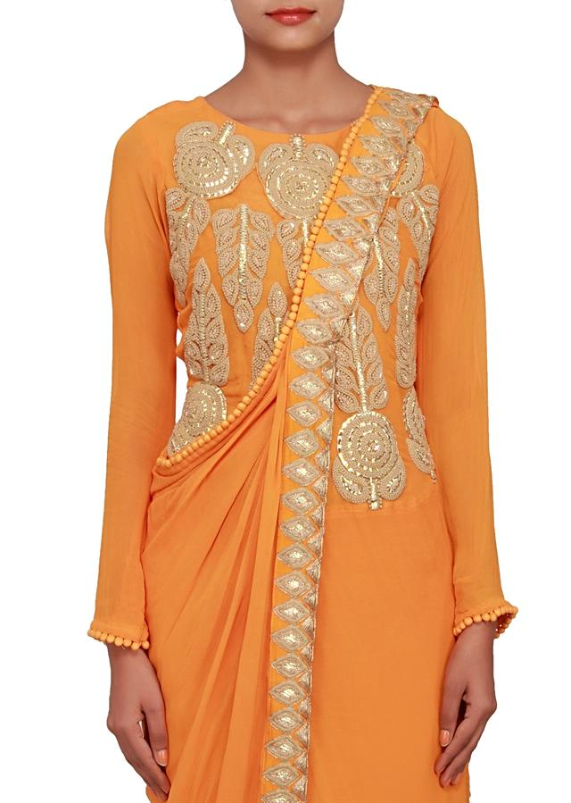 Mustard yellow kurti featured in georgette, embellished with gotta patti and french knot only on Kalki