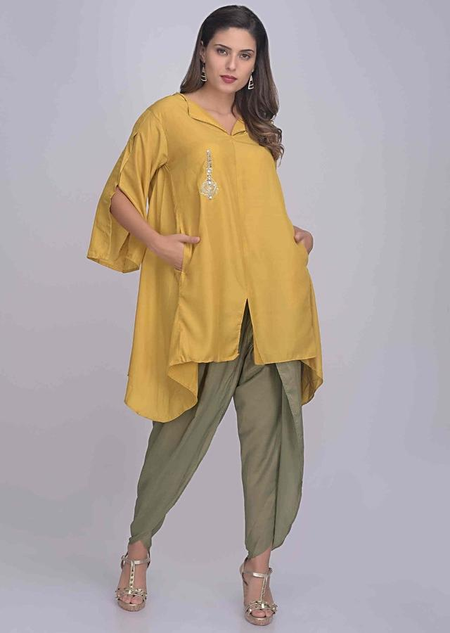 Mustard Yellow Loose A Line Kurti With Sage Green Dhoti Online - Kalki Fashion