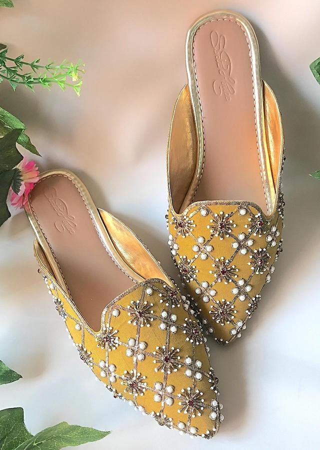 Mustard Yellow Mules With Maroon Swarovski And Moti Detailing By Sole House
