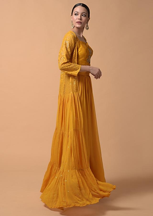 Mustard Yellow Palazzo And Crop Top Suit With Long Thread Embroidered Frill Jacket Online - Kalki Fashion