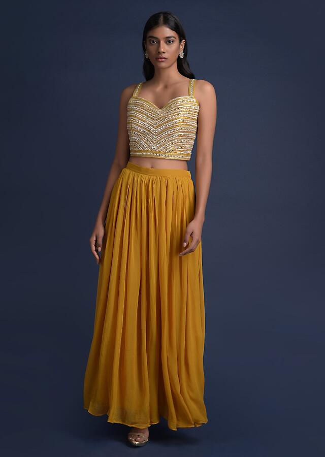 Mustard Yellow Palazzo Suit And Jacket With Mirror Abla Work Online - Kalki Fashion