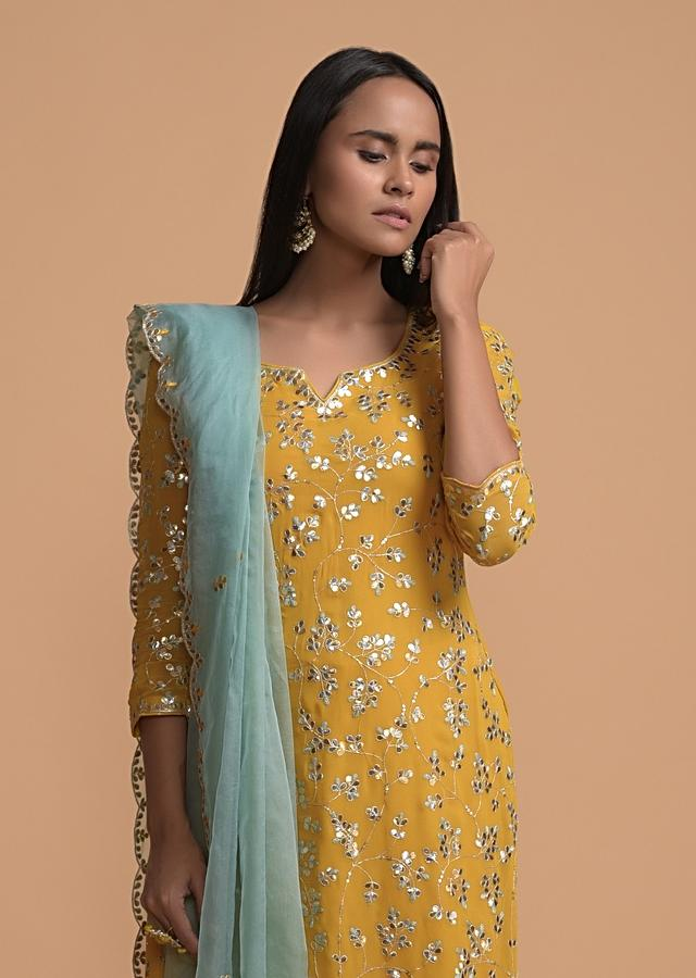 Mustard Yellow Palazzo Suit In Georgette With Gotta Patti Embroidered Jaal Online - Kalki Fashion