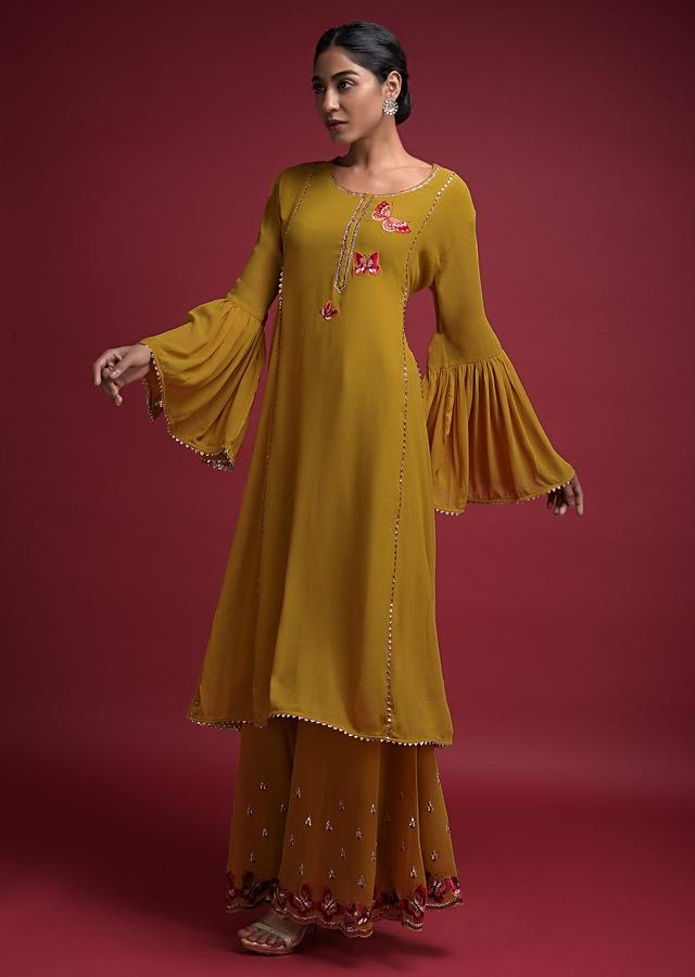 Mustard Yellow Palazzo Suit In Georgette With Thread Embroidered Butterfly Motifs Online - Kalki Fashion