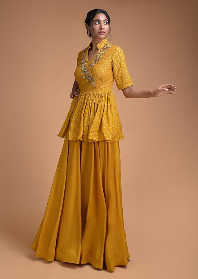 Mustard Yellow Palazzo Suit With Peplum Top With Floral Embroidery Online - Kalki Fashion