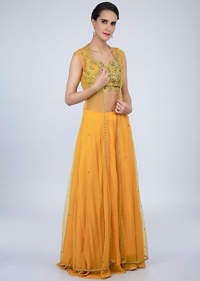 Mustard Yellow Palazzo With Embroidered Crop Top And Net Dupatta Online - Kalki Fashion
