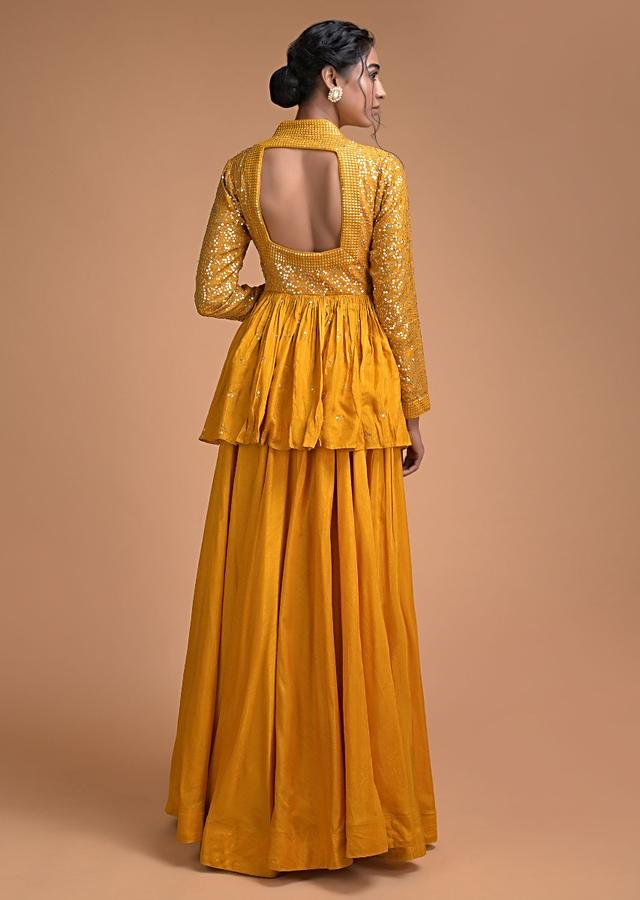 Mustard Yellow Peplum Top And Flared Palazzo Pants With Sequins Work Online - Kalki Fashion