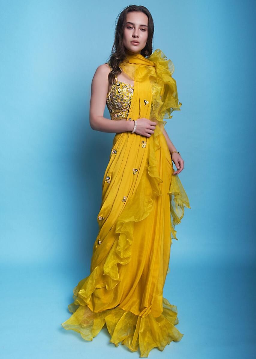 Mustard Yellow Ready Pleated Draped Saree With Ruffled Organza Draped Pallo And Hem Online Kalki Fashion