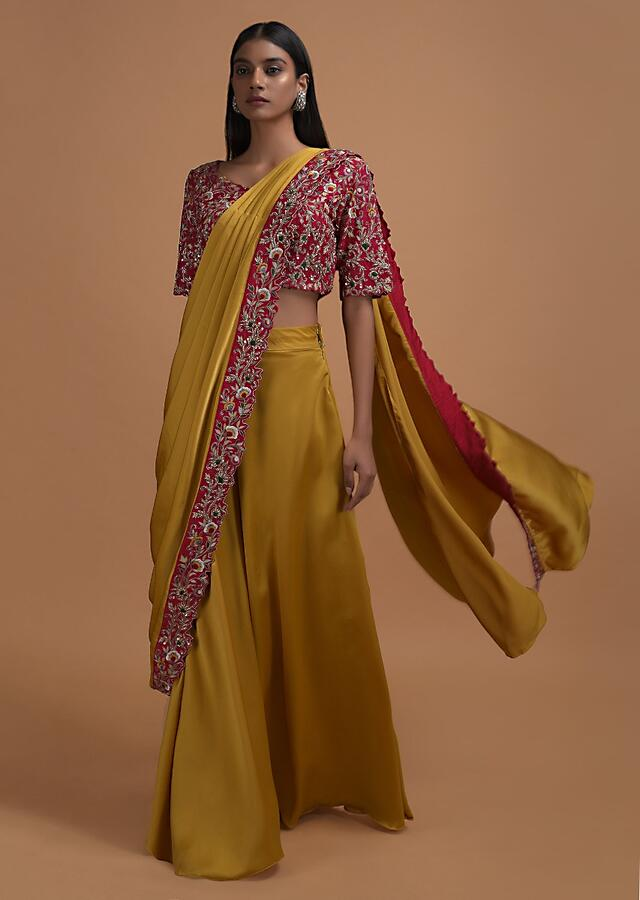Mustard Yellow Ready Pleated Saree In Milano Satin With Red Embellished Blouse Online - Kalki Fashion
