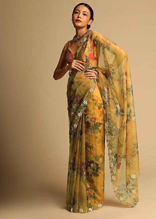 Mustard Yellow Saree In Organza With Floral Print All Over And Moti Embroidered Border Along With Unstitched Blouse Online - Kalki Fashion
