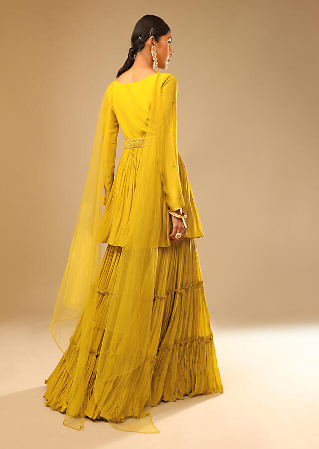 Mustard Yellow Sharara Suit In Crepe With A Flared Kurti Adorned In 3D Embroidery Along With A Belt Online - Kalki Fashion