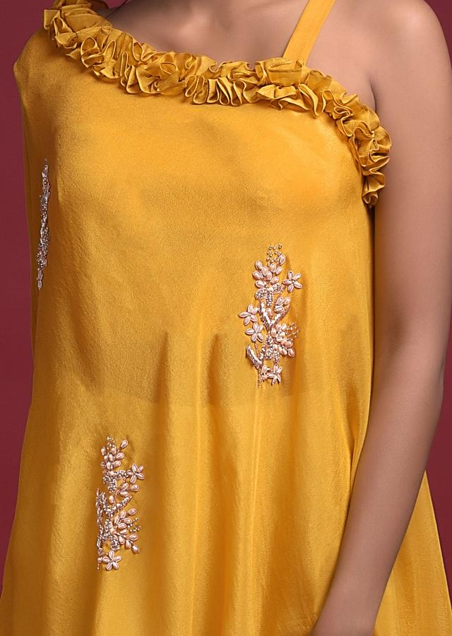 Mustard Yellow Sharara Suit In Crepe With Ruching On The Neckline And Attached Cape Online - Kalki Fashion