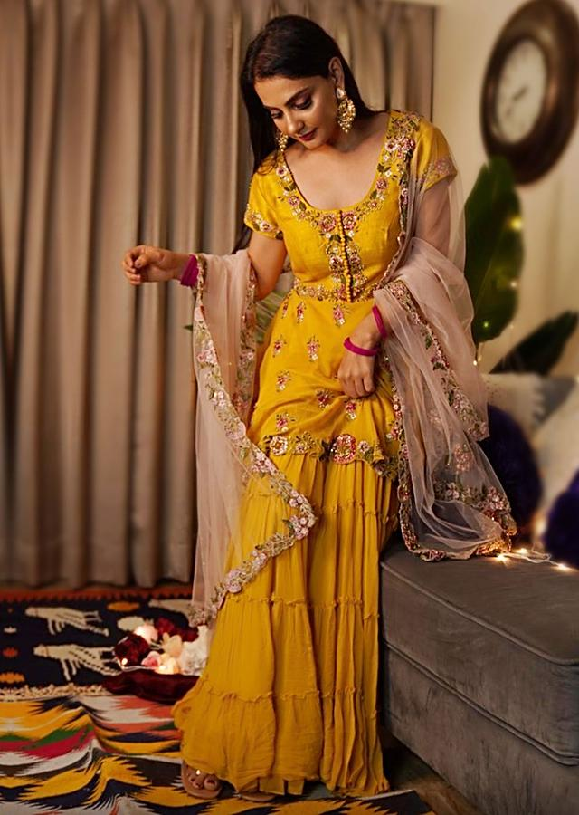 Mustard Yellow Sharara Suit In Raw Silk Hand Embroidered In Floral Pattern Online - Kalki Fashion