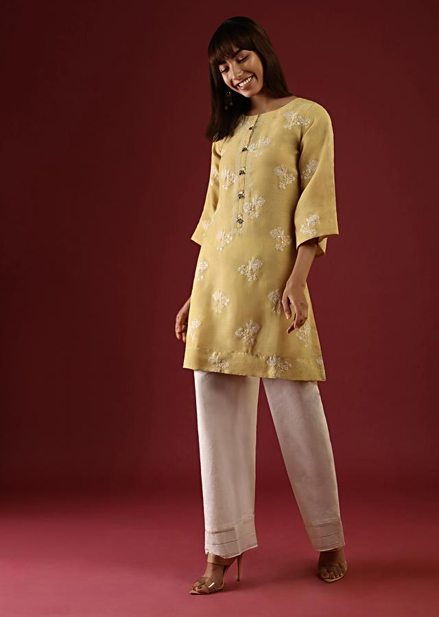 Mustard Yellow Straight Cut Kurta Set With Thread And Sequins Embroidered Floral Buttis Online - Kalki Fashion