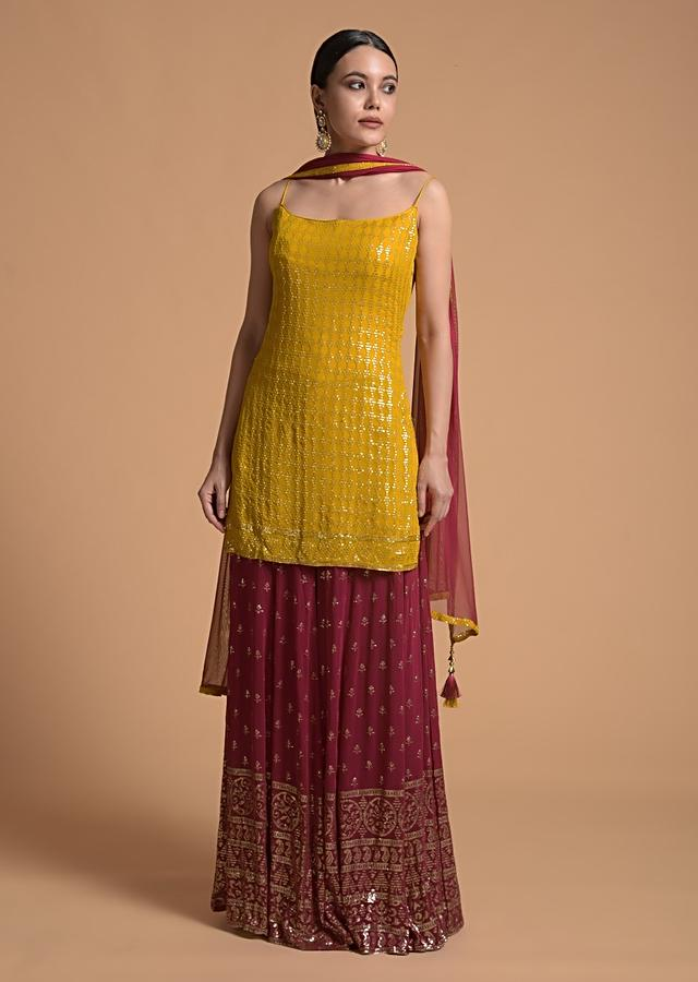 Mustard Yellow Suit With Sequins Jaal And Contrasting Embroidered Magenta Palazzo Pants Online - Kalki Fashion