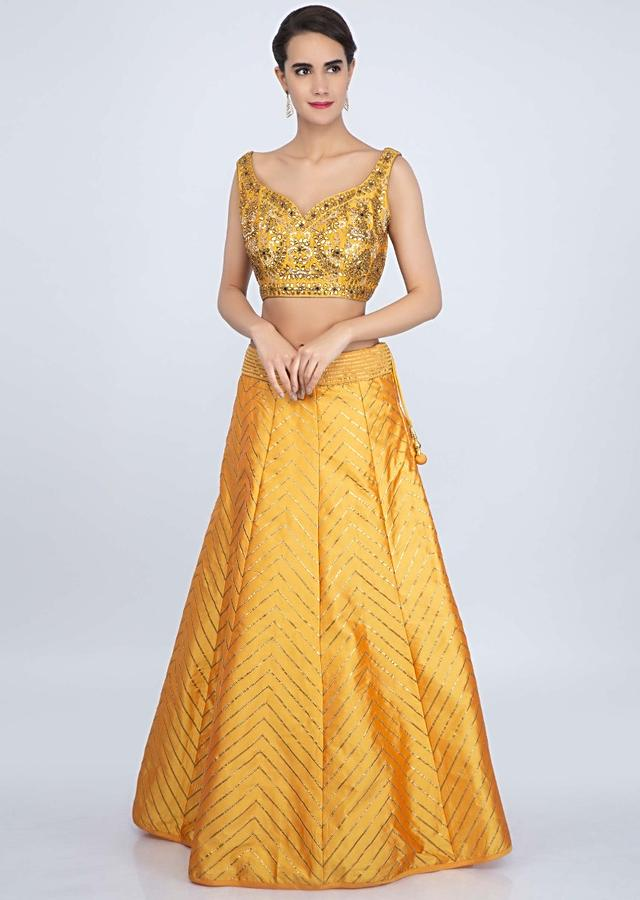 Mustard Yellow Lehenga Set In Taffeta Silk With Lace Embroidery Online - Kalki Fashion