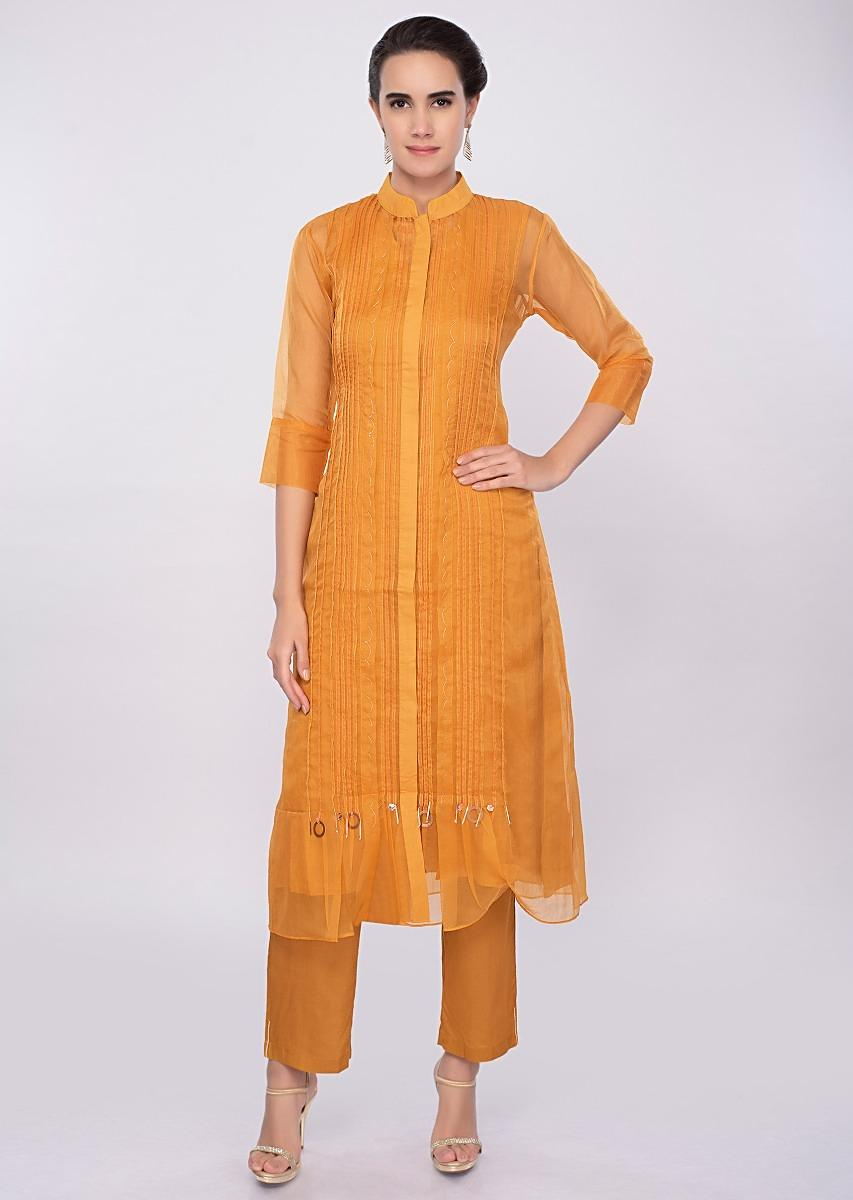 76308d77e64e2 Mustard yellow three piece suit designed with pleats only on Kalki