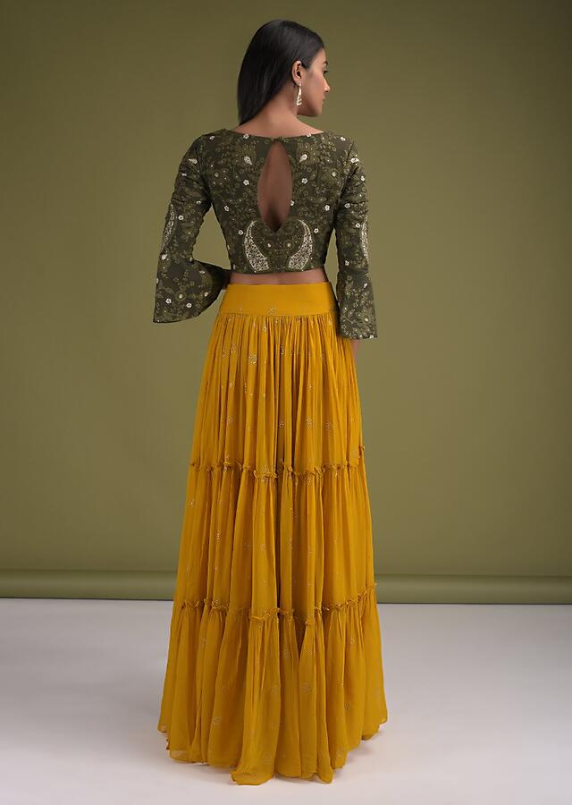 Mustard Yellow Tiered Skirt In Georgette With Badla Work And Henna Green Embroidered Crop Top Online - Kalki Fashion