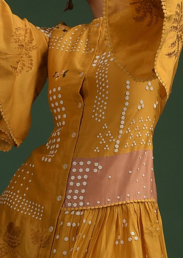 Mustard Yellow Tunic In Cotton With Frill On The Side And Adorned With Flower Sequins And Thread Work Online - Kalki Fashion