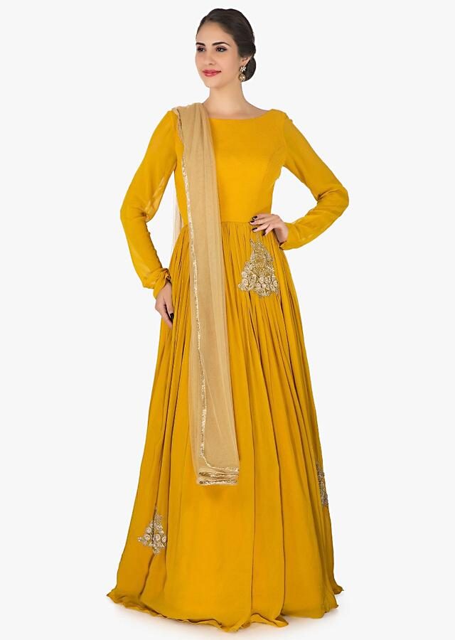 Mustard Anarkali Suit In Georgette Embellished With Resham And Cut Dana Butti Work Online - Kalki Fashion