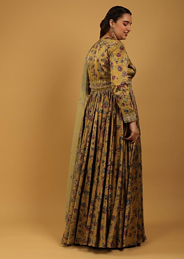 Mustard Anarkali Suit In Satin With Floral Print All Over And A Broad Moti And Cut Dana Embroidered Belt Online - Kalki Fashion
