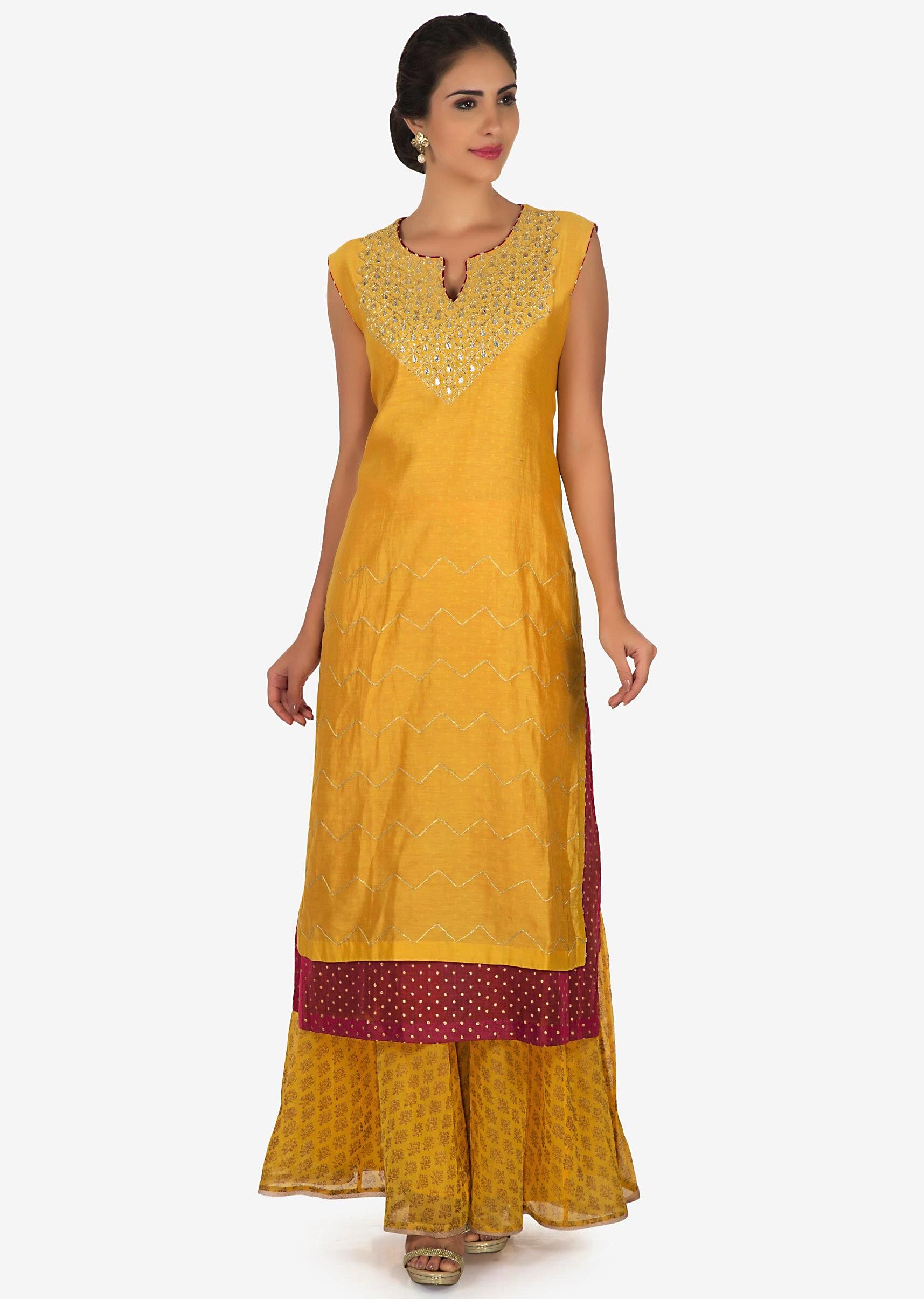 0b81e21c07 Mustard and pink palazzo suit in silk beautified with gota patti embroidery  work only on Kalki