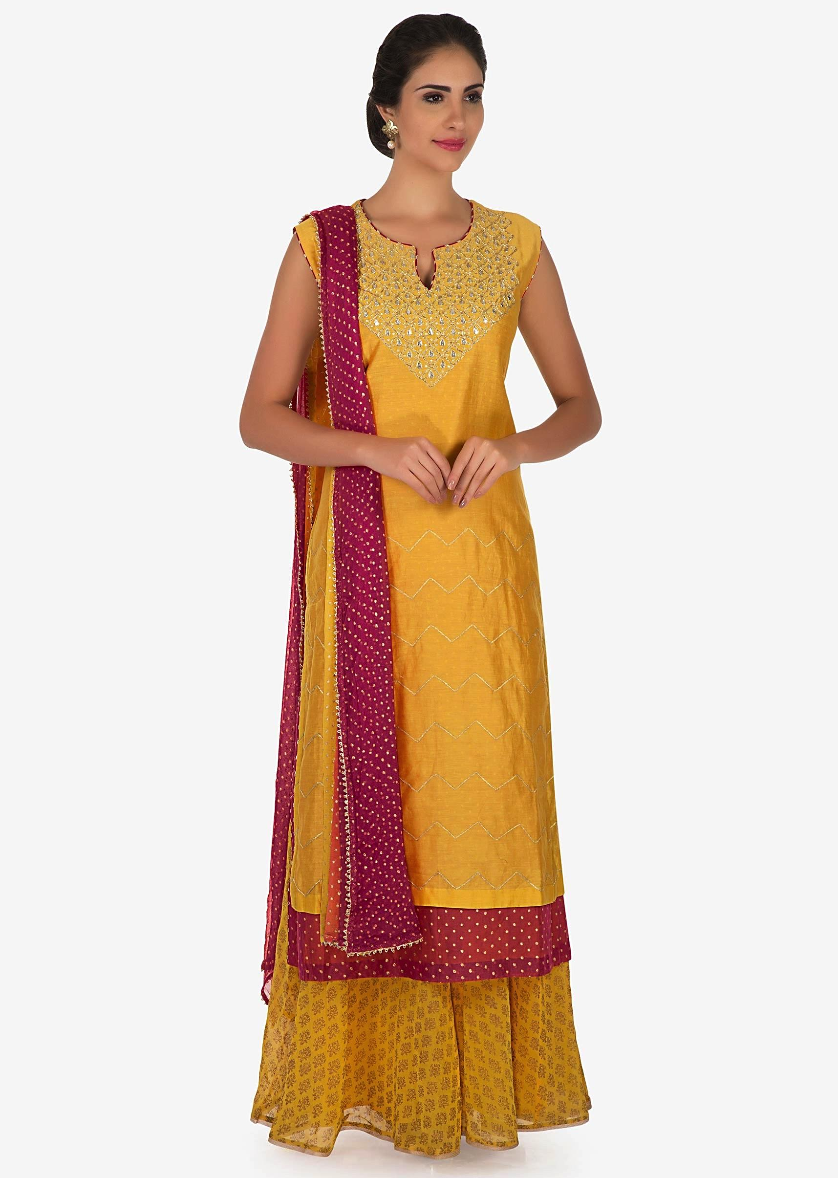 54bad93139 Mustard and pink palazzo suit in silk beautified with gota patti embroidery  work only on KalkiMore Detail