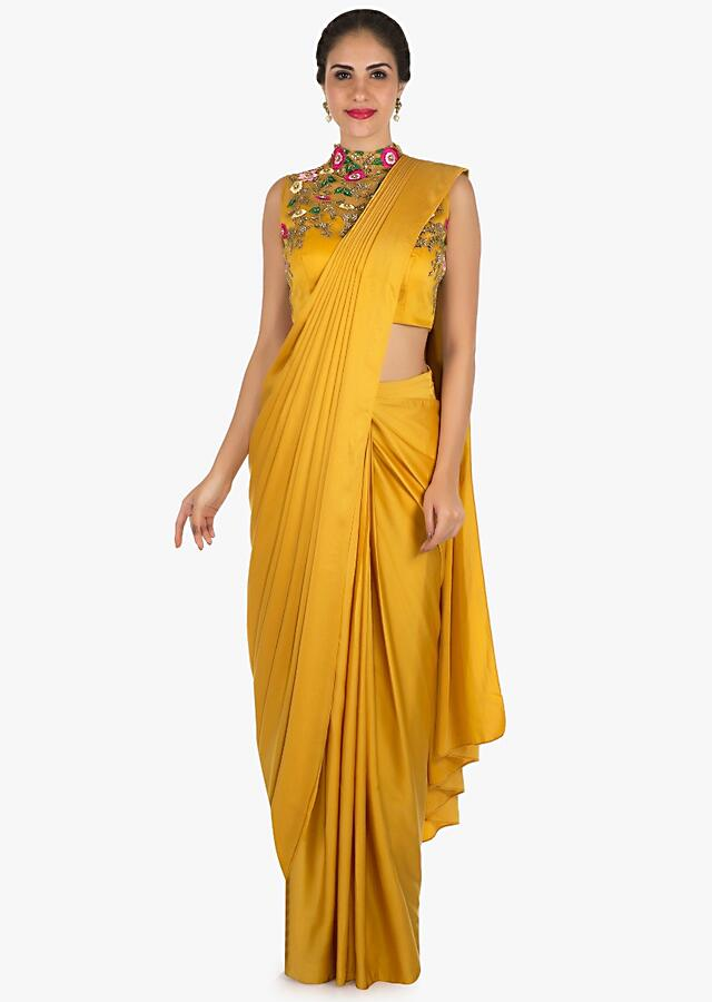 Mustard Ready Pleated Saree With A High Neck Blouse Embellished In Resham And Moti Work Online - Kalki Fashion