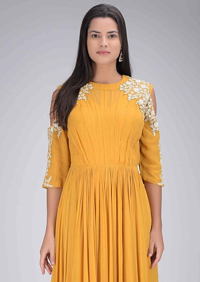 Mustard Yellow Gown In Chiffon With Cold Shoulder Details Online - Kalki Fashion