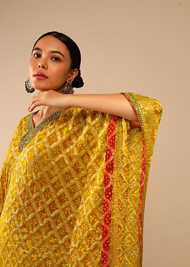 Mustard Yellow Kaftan Suit In Georgette With Bandhani And Woven Moroccan Jaal Online - Kalki Fashion
