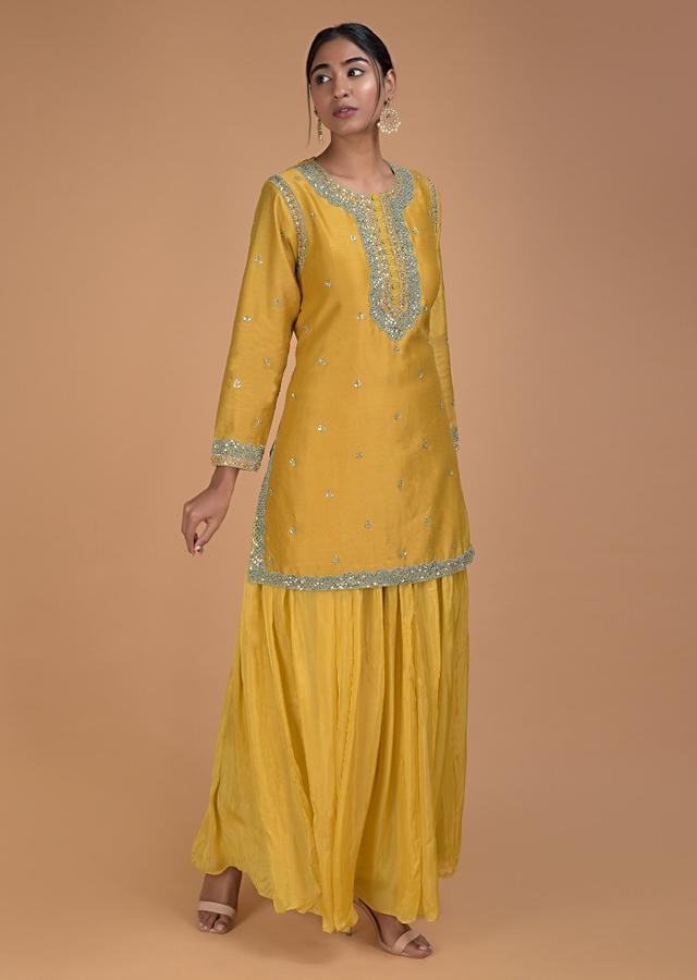 Mustard Yellow Lehenga And Kurta With Sequins And Zardozi Embellished Buttis Online - Kalki Fashion