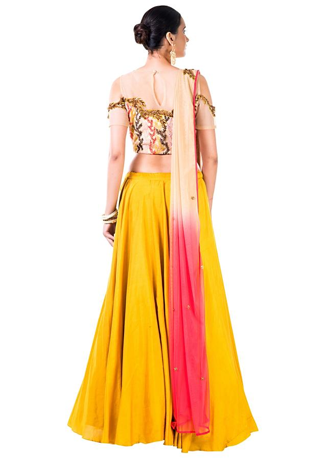 Mustard Yellow Lehenga With An Embroidered Beige Blouse And Shaded Dupatta Online - Kalki Fashion