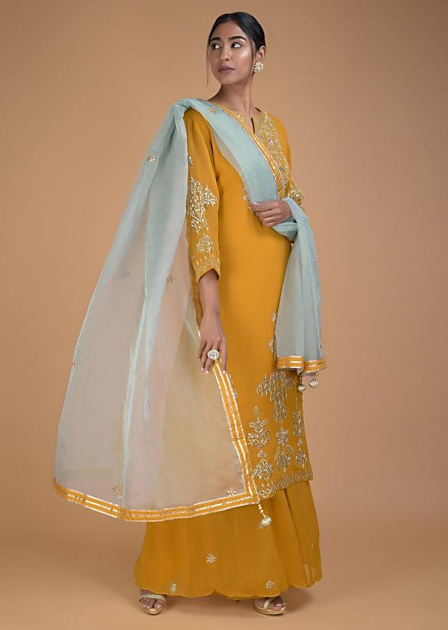 Mustard Yellow Palazzo Suit With Gotta Patch Embroidery In Floral Pattern Online - Kalki Fashion