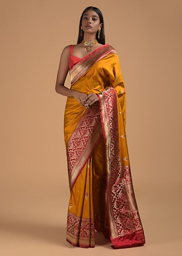 Mustard Yellow Pure Handloom Saree In Silk With Woven Buttis And Red Border Online - Kalki Fashion