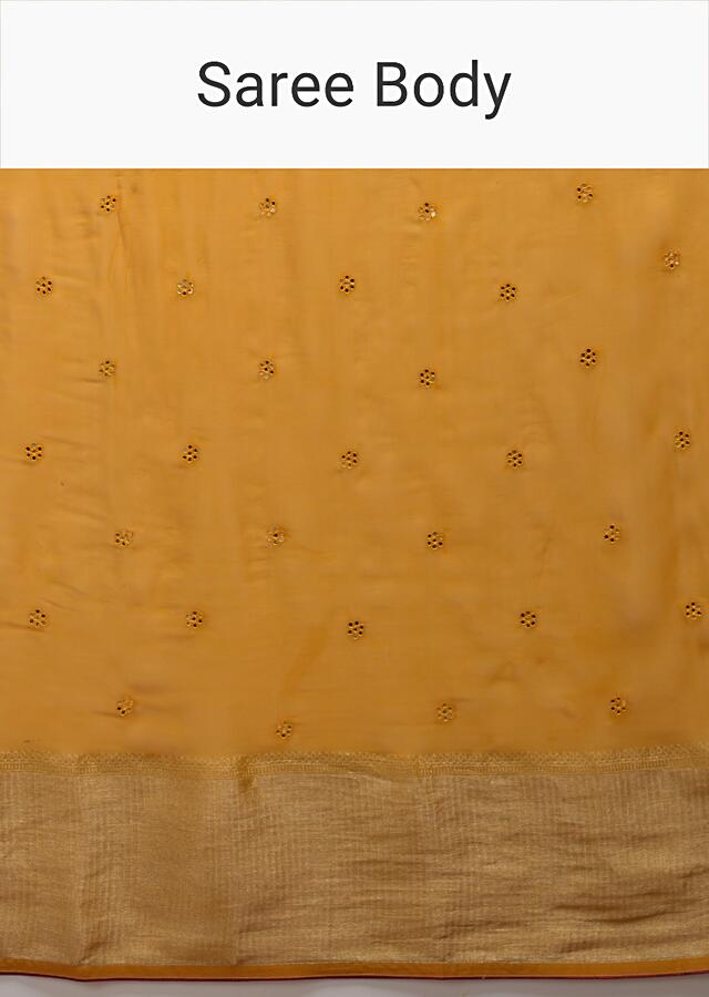 Mustard Yellow Saree In Organza Silk With Abla Embroidered Floral Buttis And Woven Border Online - Kalki Fashion