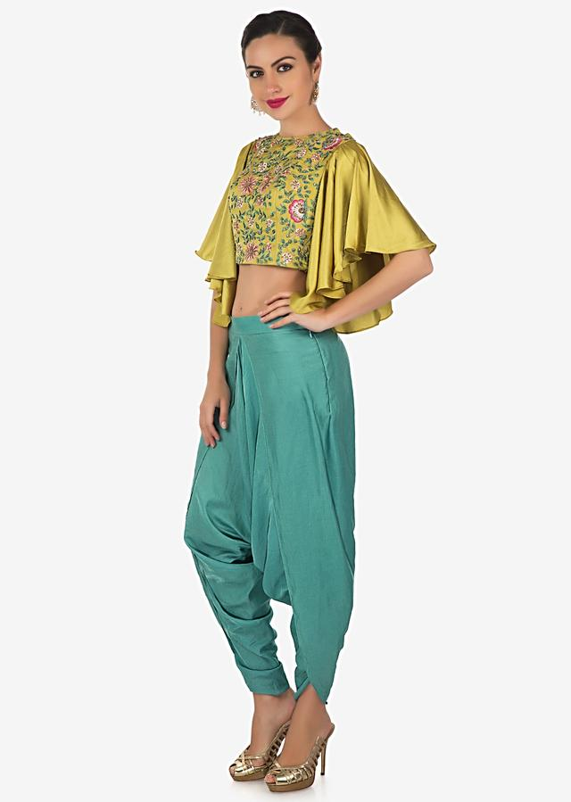 Muted Gold Heavy Satin Top And Blue Mul Cotton Dhoti Pants Set Online - Kalki Fashion