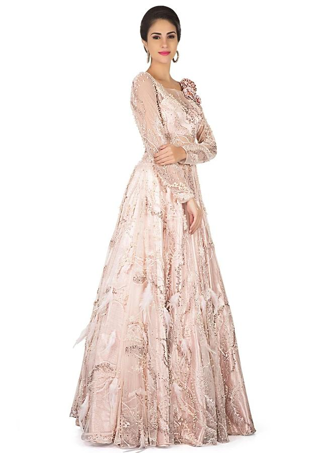 Muted Pink Gown In Sheer Embroidered Net Online - Kalki Fashion