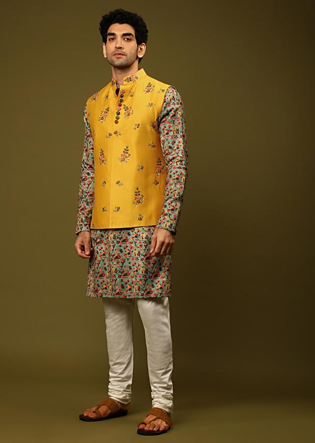 Mutli Colored Kurta Set In Silk With Floral Print All Over Online - Kalki Fashion