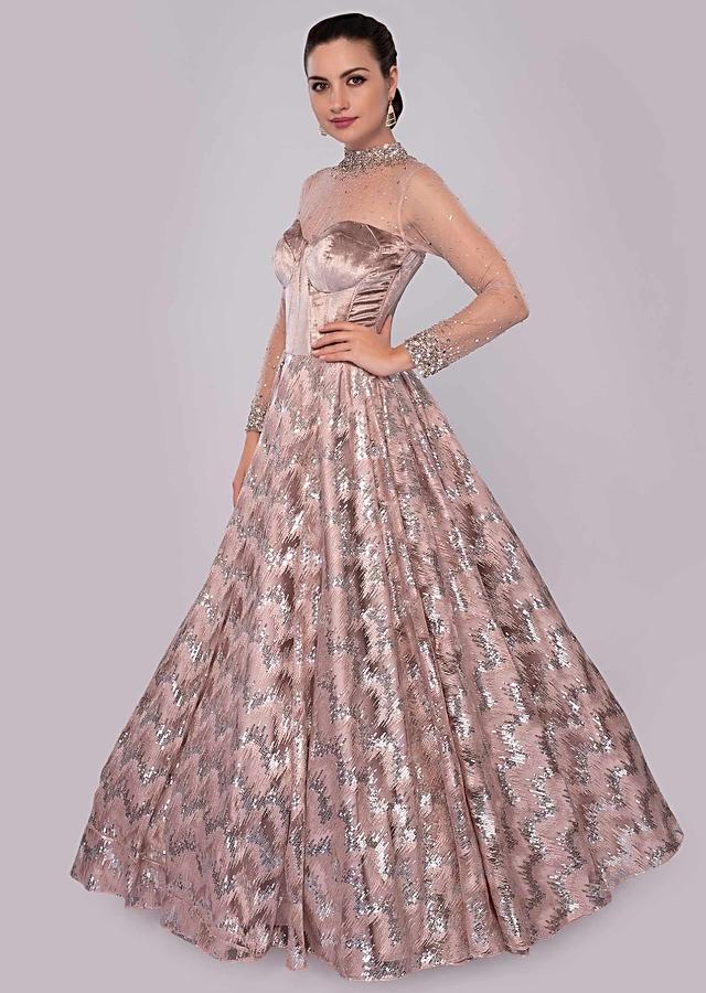 Natural Beige Gown In Sequins Embroidered Net With Panel Corset Velvet Bodice Online - Kalki Fashion