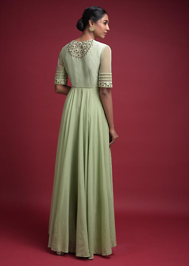 Nature Green A Line Palazzo Suit In Cotton With Front Slit And Floral Embroidery Online - Kalki Fashion