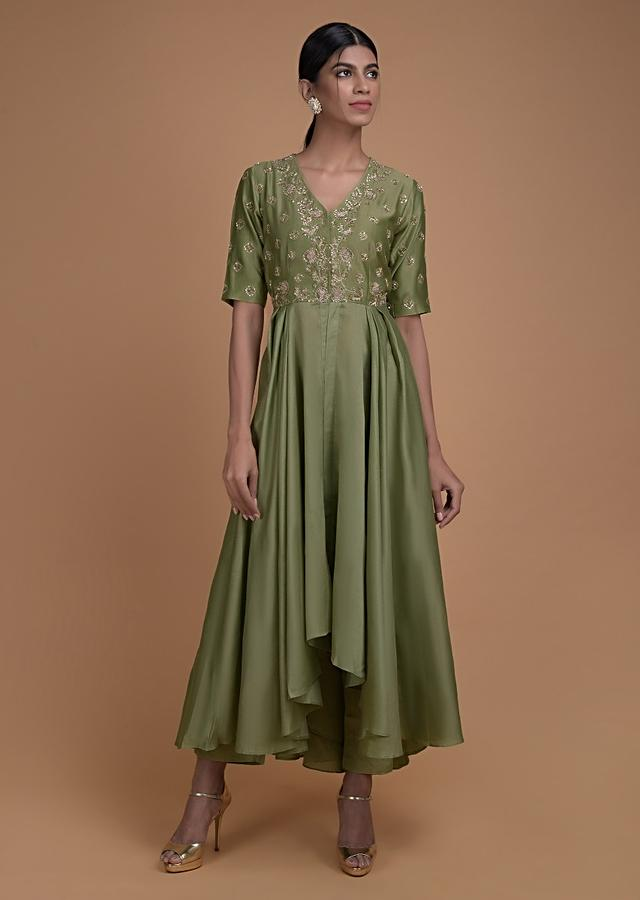 Nature Green A Line Suit In Cotton With High Low Hemline And Embroidered Bodice Online - Kalki Fashion