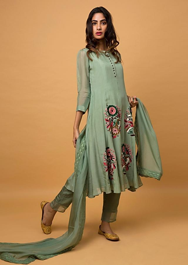 Nature Green A Line Suit With Colorful Aari Thread Embroidered Floral Motifs Online - Kalki Fashion