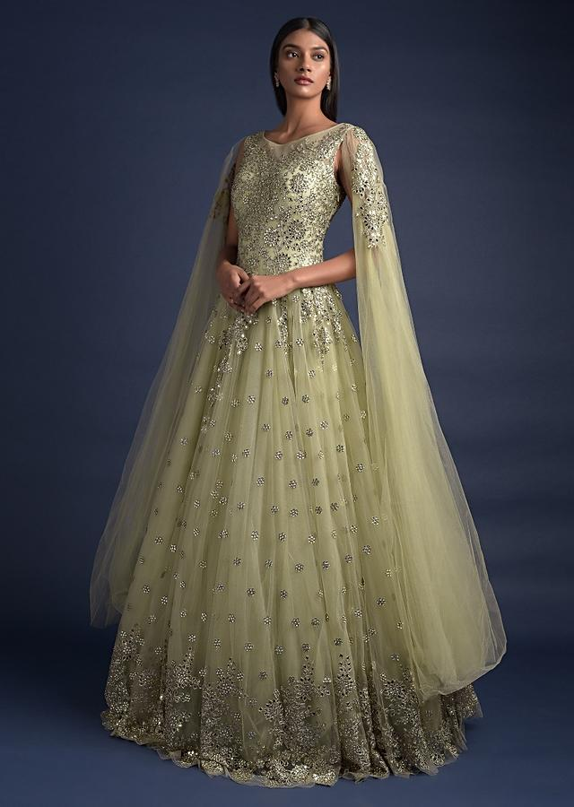 Nature Green Ball Gown In Net With Extended Floor Length Sleeves And Mirror Work Online - Kalki Fashion
