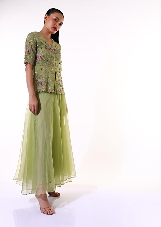 Nature Green Palazzo Suit In Organza With A Matching Peplum Top Adorned In Zari And Thread Embroidery Online - Kalki Fashion