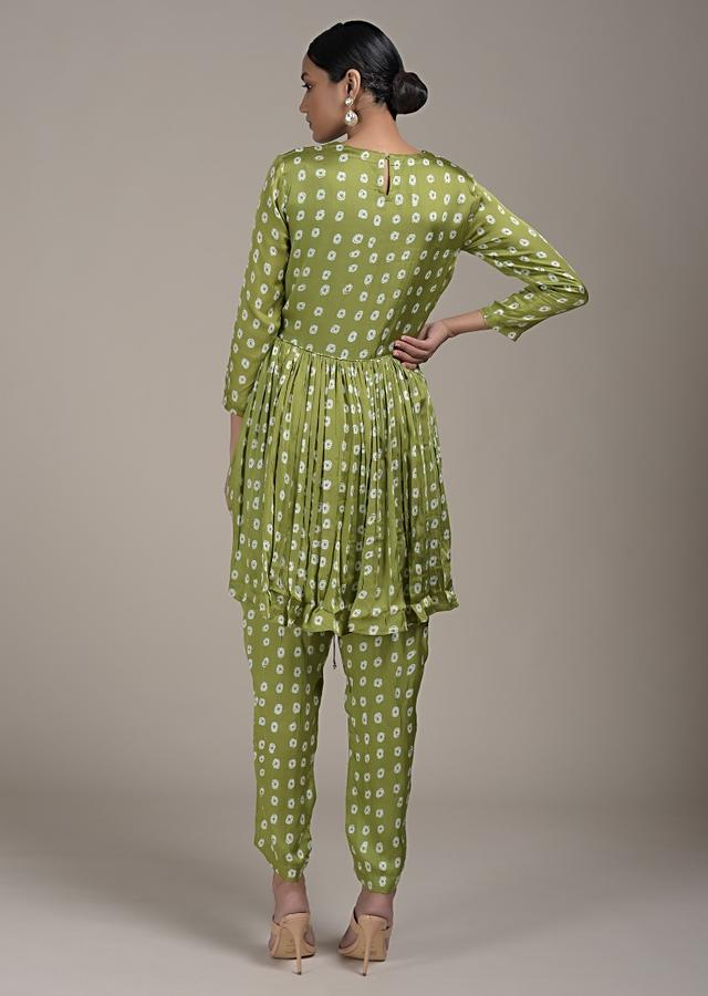 Nature Green Peplum Suit In Satin Blend With Bandhani Print All Over Online - Kalki Fashion