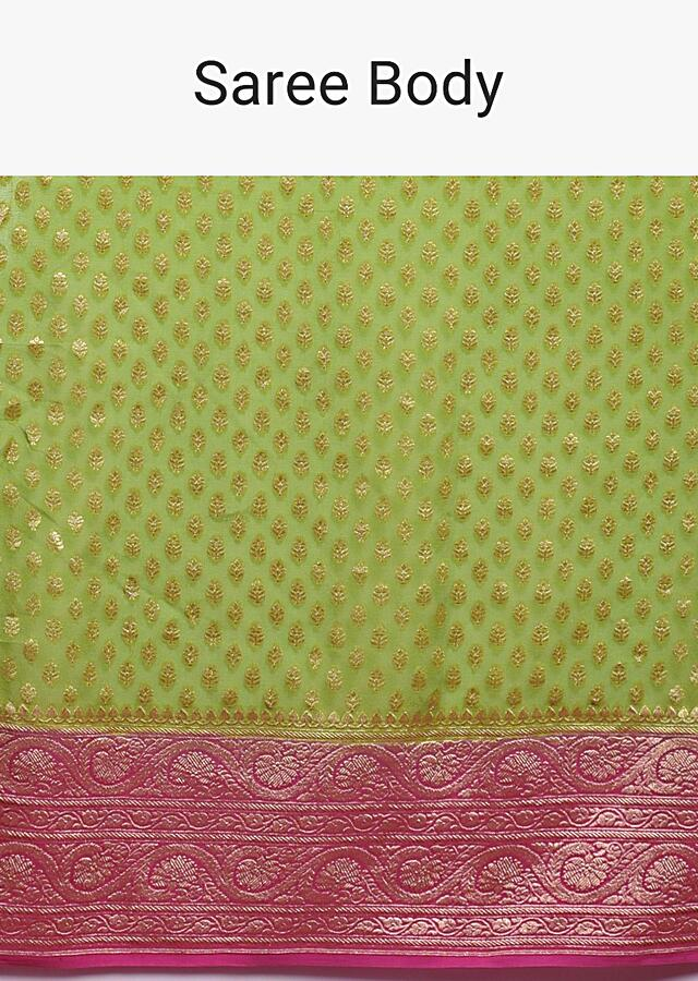 Nature Green Saree In Georgette With Weaved Buttis And Pink Border And Pallu Online - Kalki Fashion