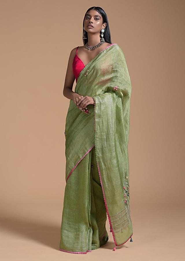 Nature Green Saree In Tussar With Bud Embroidered Floral Buttis Online - Kalki Fashion