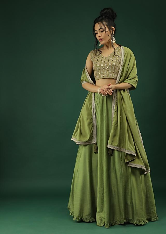 Nature Green Skirt And Crop Top Set With Zari And Sequins Embroidered Checks Design Online - Kalki Fashion